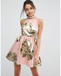 ASOS - Pinny Jacquard Mini Prom Dress - Lyst