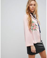 Liquorish - Floral Embroidered Shirt - Lyst