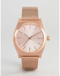 Nixon - Time Teller Luxe Rose Gold Mesh Watch - Lyst