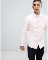 New Look - Oxford Shirt In Regular Fit In Pink - Lyst