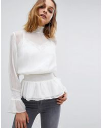 AllSaints - Clarette Sheer Top With High Neck - Lyst