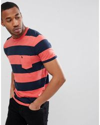 Abercrombie & Fitch - Washed Block Stripe Pocket Moose Logo T-shirt In Red/navy - Lyst