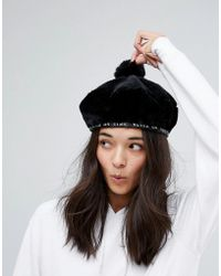 Lazy Oaf - Faux Fur Beret In Black - Lyst