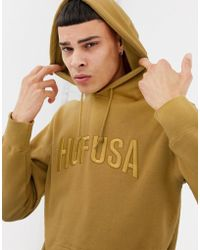 Huf - Hoodie With Embroidered Team Logo In Honey Mustard - Lyst
