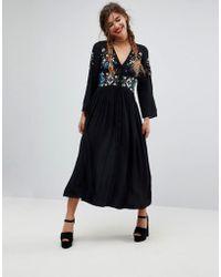 ASOS - Asos Embroidered Maxi Dress - Lyst