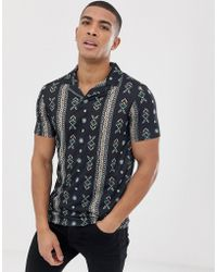 ASOS - Polo With All Over Paisley Print And Revere Collar - Lyst