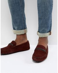 ASOS - Design Driving Shoes In Burgundy Suede With Plait Detail - Lyst
