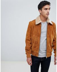 Barneys Originals - Suede Bomber Jacket With Borg Collar - Lyst