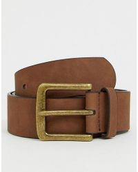 ASOS - Wide Belt In Brown Faux Leather With Vintage Gold Buckle - Lyst