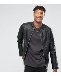 Barneys Originals - Barneys Originals Tall Faux Leather Ribbed Biker Jacket - Lyst