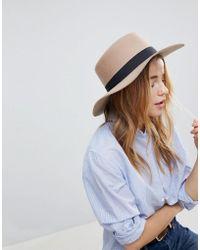 ASOS - Felt Boater Hat In Light Camel With Size Adjuster - Lyst