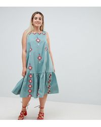 ASOS - Asos Design Curve Embroidered Trapeze Midi Dress - Lyst