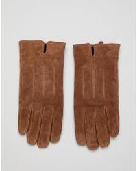 Barneys Originals - Barneys Suede Gloves In Brown - Lyst