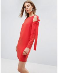 ASOS - Cold Shoulder Shift Mini Dress With Bow Detail - Lyst