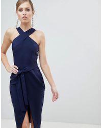 Lavish Alice - Cross Front Midi Dress With Wrap Skirt And Tie Waist - Lyst
