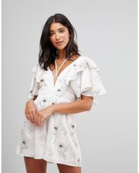 Oh My Love - Satin Plunge Romper With Frill Sleeves - Lyst