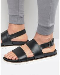 ASOS - Sandals In Black Leather With Wedge Sole - Lyst