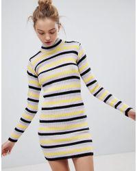 3bb1c640c7 Daisy Street - High Neck Sweater Dress In Retro Stripe - Lyst