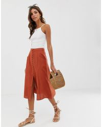 ASOS - Midi Skirt With Button Front - Lyst