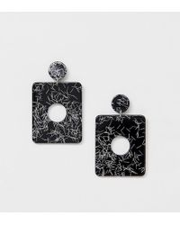 Missguided - Resin Square Drop Earrings In Mono - Lyst