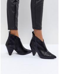 eb5121f61d745 Kurt Geiger - Kurt Geiger Black Leather Western Heeled Ankle Boots - Lyst