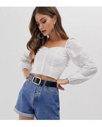 Stradivarius - Broderie Button Front Blouse With Square Neck In White - Lyst