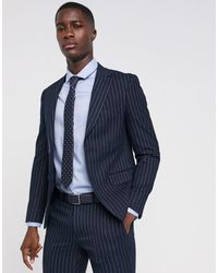 Moss Bros - Moss London Skinny Suit Jacket In Navy Pinstripe - Lyst