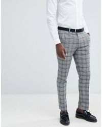 ASOS - Skinny Suit Pants In Prince Of Wales Check - Lyst