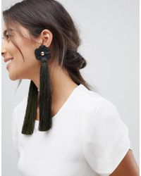 ASOS - Statement Matte Flower And Tassel Earrings - Lyst