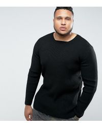 ASOS - Plus Longline Muscle Fit Ribbed Jumper In Black - Lyst