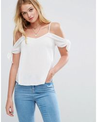 ASOS | Cold Shoulder Cami In Crinkle With Tie Sleeve | Lyst