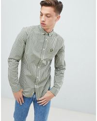 Lyle & Scott - Slim Fit Buttondown Gingham Check Shirt With Stretch In Green - Lyst