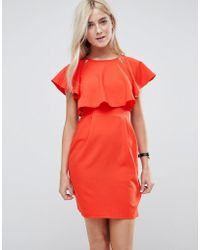 ASOS DESIGN - Asos Double Layer Mini Wiggle Dress With Angel Sleeve - Lyst