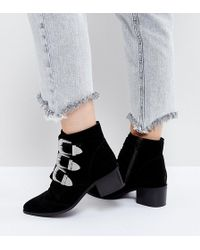 ASOS - Asos Relieve Wide Fit Suede Buckle Ankle Boots - Lyst
