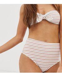 Glamorous Exclusive High Leg Bikini Bottom In Stripe