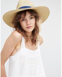 Mango - Straw Hat With Blue Ribbon - Lyst