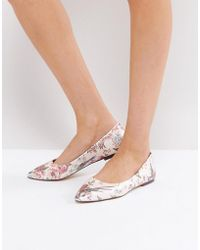 Oasis | Royal Worcester Floral Print Ballerina Pump | Lyst