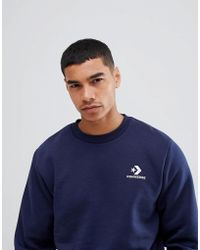 Converse Marineblaues Sweatshirt mit Logo, 10008816-A02