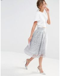 Chi Chi London - Premium Lace Skirt With Cutwork Detail - Lyst