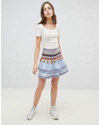 Glamorous - Tiered Embroidered Skirt - Lyst