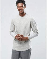 ADPT - Crew Neck Long Sleeve Top With Mixed Yarn Detail - Lyst