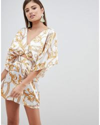 ASOS - Kimono Sleeve Playsuit With Cut Out Detail In Chain Print - Lyst