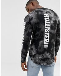 Hollister - Back And Sleeve Logo Tai Dye Long Sleeve Top In Black - Lyst