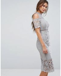 True Decadence - Premium Cutwork Lace Cold Shoulder Maxi Dress - Lyst
