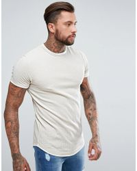 ASOS - Longline Muscle Fit T-shirt With Curved Hem In Waffle In Beige - Lyst