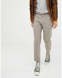 Bershka - Slim Cropped Trousers In Brown - Lyst