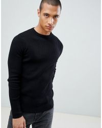 New Look - Ribbed Muscle Fit Jumper In Black - Lyst