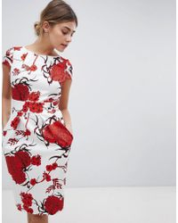 Closet - Tie Back Short Sleeve Dress In Large Floral Print - Lyst