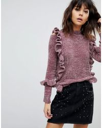 River Island - Chenille Cable Knit Frill Sweater - Lyst