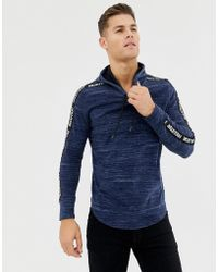 Hollister - Taped Logo Hooded Long Sleeve Top In Navy - Lyst